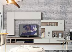 Modern Natural Wall Storage System with, Shelving, TV Unit and Wall Cabinet