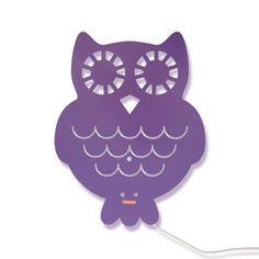 Roommate . Owl Wall Light . Steel / Purple