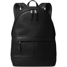 Michael Kors Leather Backpack ($398) ❤ liked on Polyvore featuring men's fashion, men's bags, men's backpacks, black, mens leather backpack and mens travel backpack