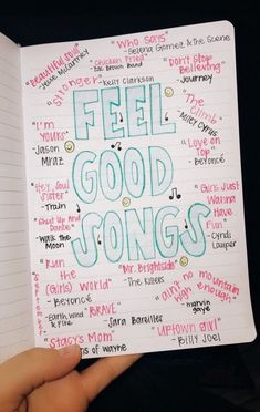 List of fun, feel-good songs to listen to when you need a pick-me-up or some motivation Music Mood, Mood Songs, Bullet Journal Ideas Pages, Book Journal, Journal List, Music Lyrics, Music Songs, Song Lyric Quotes, Music Quotes