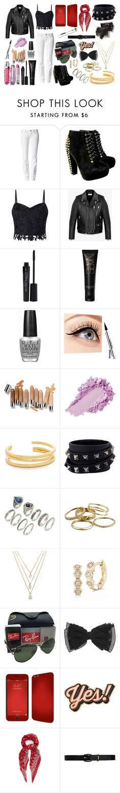 """We Are Bulletproof"" by areyouready13 ❤ liked on Polyvore featuring 7 For All Mankind, Lipsy, Yves Saint Laurent, Christian Dior, Smashbox, OPI, Luminess Air, Madewell, Valentino and Forever 21"