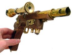 Steampunk wood and brass weapon with scope