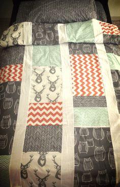 Toddler or children bedding set in gray mint and by HudsonBedford, $180.00