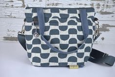 Petite Camera bag Navy blue and grey in cotton canvas with