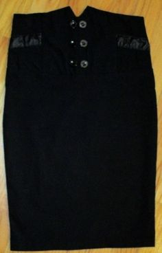 Valia Juniors Black Wiggle Stretch High Waisted Knee Length Pencil Skirt Size S #Valia #StraightPencil