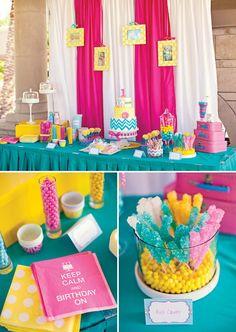 Rainbow chevron & polka dot 1st birthday in turquoise, pink, & yellow