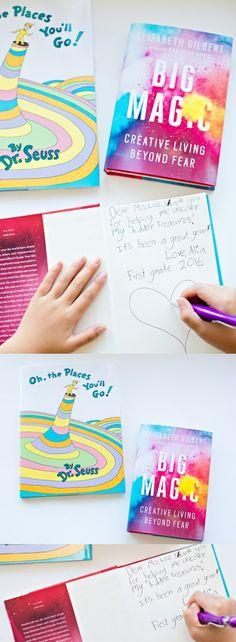 Teacher Appreciation Graduation Book Gift Idea. Have kids write a special message inside a meaningful book for teachers.