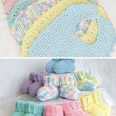 These simple bibs with button for closure are so pretty! Add the adorable mini booties in the matching color and you have a practical and excellent gift that fits newborn babies to 6 months. Bibs & Booties (Bibs) Crochet by Bernat Design Studio is a quick and cute crochet pattern which is so much fun …