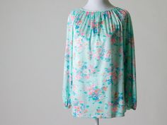 Pretty Floral Vintage Blouse- Pastels, Very Soft, Light, & Flowing- Great for Spring on Etsy, $20.00
