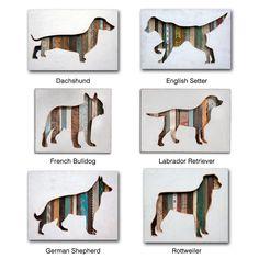 Dolan Geiman celebrates your canine with a handmade silhouette constructed out of recycled materials featuring vintage patterns. Animal Silhouette, Silhouette Art, Recycled Art, Recycled Materials, Wood Dog, Wooden Animals, Pallet Art, Animal Crafts, Dog Art