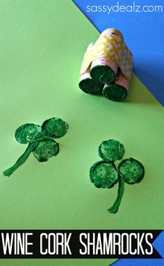 DIY Wine Cork Shamrocks kids crafts st patricks day shamrocks st. patrick's day crafts. st pattys day craft st patricks day diy ideas