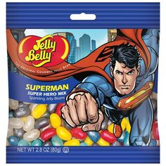 Jelly Belly Superman, oz bag, 12 bags in box Superman 2, Superman Wonder Woman, Batman, Peach Puree, Nutter Butter Cookies, Giant Candy, Confectioners Glaze, Sour Candy, Cream Soda
