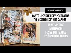 how to upcycle ugly postcards to mixed media art cards! design team project for @49dragonflies - YouTube