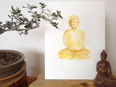 Golden Buddha Original Watercolor Painting, One of a kind Buddha Statue Home Decor, Buddhism Zen Yellow Handmade Wall Art by ColorWatercolor on Etsy https://www.etsy.com/listing/247127054/golden-buddha-original-watercolor