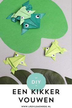 Kikker vouwen - Stap voor stap 'n origami kikker knutselen. Terrarium, Lemonade, Cool Kids, Embellishments, Homeschool, Classroom, Frogs, Paper, Fun