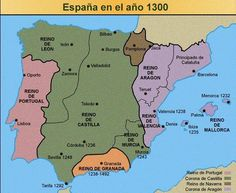 Mapa de la península en el año 1300.