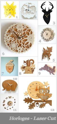 Laser cut clocks