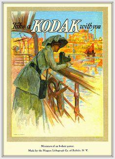 1912 ca Kodak  Take one with you.  Miniature of 8-sheet poster made by Niagara Lithograph Co. Buffalo, N.Y.