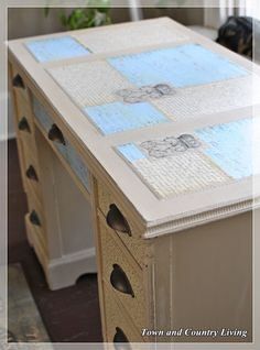 DIY::  LOVE !! A #35 dollar garage sale desk gets painted and decoupaged for a Timeless High End Custom Look. Excellent Tutorial by @Jennifer Zuri Town and Country Living