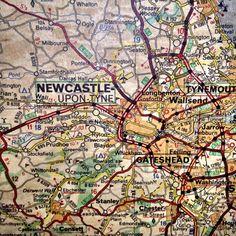 Old map of northern England - Newcastle Upon Tyne! Newcastle Map, Newcastle Cathedral, Newcastle Gateshead, Newcastle England, Blaydon Races, United Kingdom Map, Northumbria University, Northumberland Coast, Durham University