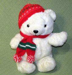 "Vintage Kmart 1986 Teddy Bear Christmas Holiday Dan Dee White Red Hat Scarf 18"" #Kmart"