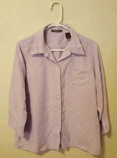 Women's Liz Clairborne Purple 3/4 Sleeve Button Down Blouse Size 16 #414 in Clothing, Shoes & Accessories, Women's Clothing, Tops & Blouses | eBay