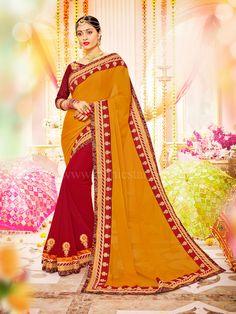 Georgette and Chiffon Fabric Saree  #saree #sareeswag #tradiotional #printedsaree #FeelRoyal #festive