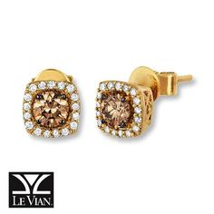 Le Vian Chocolate Diamonds 1 2 Ct Tw Earrings 14k Honey Gold