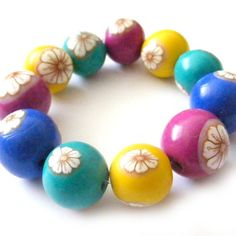Colorful Polymer Clay Beads With White Flowers - Set of 11