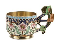 A RUSSIAN SILVER GILT AND SHADED ENAMEL CUP, FEODOR RUCKERT, MOSCOW, 1897-1908.