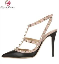 51.92$  Watch here - http://ali8pe.shopchina.info/go.php?t=32532704304 - Original Intention New Women Sandals Sexy Pointed Toe Rivet Ankle Strap High Heels Shoes Woman Elegant Summer Sandals Plus Size  #buyonlinewebsite