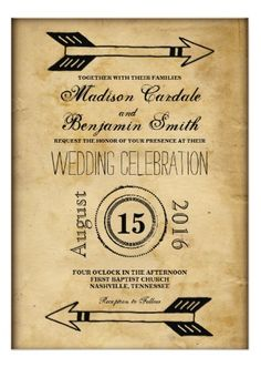 Antique Tribal Arrow Vintage Wedding Invitations on old parchment paper design for a vintage distressed look.  Great for a rustic country wedding.  40% OFF when you order 100+ Invites.  #wedding