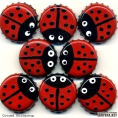 Ladybug beer caps for the decoration - Bottle cap diy - # Bottle Top Crafts, Bottle Cap Projects, Diy Bottle, Rock Crafts, Diy And Crafts, Crafts For Kids, Arts And Crafts, Beer Cap Art, Beer Caps
