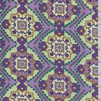 Yellow/Purple Medallion Print Lawn