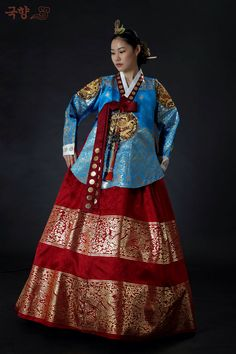 Blue korean queen dress (hanbok & dangui)