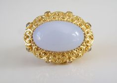 18K Gold Sterling Silver 925 Etruscan Style Blue Chalcedony Big Ring Size 7.5 #DesignerOT #Cocktail