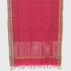 Marm Handprinted Chanderi Silk Cotton Dupatta 10000362 - AVISHYA.COM