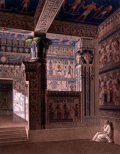 Edfu. Temple Interior. Déscription de l'Égypte (1809-1822), Antiquités, Vol. I, pl. 55. Engraving.