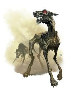 Zombie Hound: also called Rot Hounds, zombie dogs often arise in the frontier due to death by plague or rabies. These dogs are often attributed to either Trel or Lycanus respectively depending on which method killed them