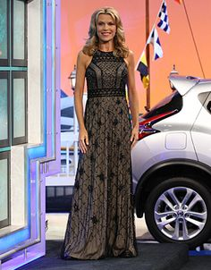 """ADRIANNA PAPELL: Gown with geometric black and bronze sequin and bead on black illusion over beige jersey, high round neckline, sleeveless, waist """"belt"""" in beads, flared hemline 
