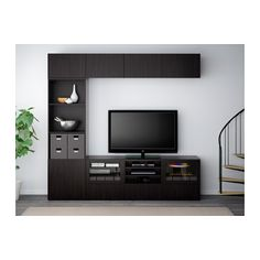 BESTÅ TV storage combination/glass doors - Lappviken/Sindvik black-brown clear glass, 240x40x230 cm, drawer runner, push-open - IKEA