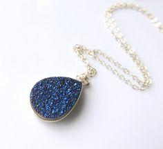 Druzy Gemstone Necklace  Silver and Blue by JemsbyJBandCompany #handmadejewelry #jewelryonetsy