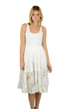 Gracia Womens White Organza Jacquard Flared Tea Length Skirt $110 New #Gracia #FullSkirt
