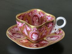 Unusual square Cup and Saucer in Pink with white handle. Gold rim- very pretty China Cups And Saucers, China Tea Cups, Teapots And Cups, Teacups, Tea Cup Set, My Cup Of Tea, Tea Cup Saucer, Cuppa Tea, Tea Art