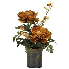 Brown Peony Arrangement in Rustic Planter (£44) ❤ liked on Polyvore featuring home, home decor, floral decor, rustic outdoor planters, rustic home decor, ceramic planters, outdoor planters and brown home decor