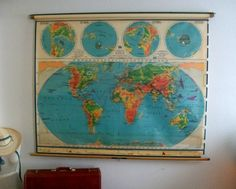 3 pull down mapsus world map south america mexico ebay love this cloth pulldown map would be a great wall hanging or in place of gumiabroncs Images