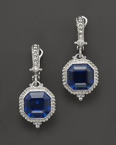 Judith Ripka Estate Ascher Cut Stone Earrings with Lab-Created Blue Corundum on shopstyle.com