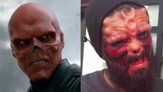 Superfan Has Nose Cut Off to Look like Red Skull - this is some fugged up shit