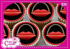 24 X LIPS SHAPED HANDBAGS RED EDIBLE CUPCAKE TOPPERS RICE PAPER 9511R