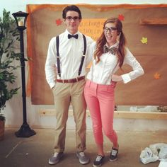Worlds cutest nerd costumes. Erin Harrison and Chandler Abney everyone!! ;) Follow me for my next Halloween costume!